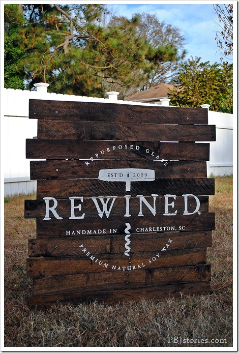 PB&Jstories custom sign for Rewined Candles