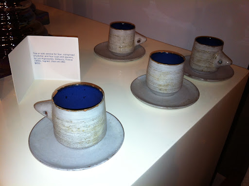The blue interior on these earthenware cups is such a surprising touch.