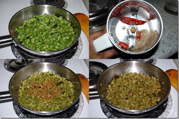 Beans stir fry process