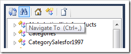Navigate To button on Project Explorer toolbar.