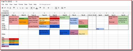 Initial TV Schedule