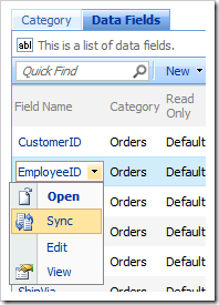 Sync context menu option for a Data Field in the Project Browser.