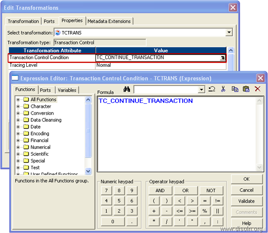 Transaction Control Transformation to Control Commit and Rollback Transactions