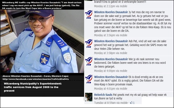 ANTI AFRIKANER HATESPEECH WITZENBERG MUNICIPALITY COP WANTS TO TAKE UP ARMS AND SHOOT THE BOERS JAN32012