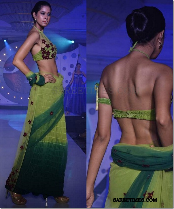 model_green_saree_sndt_fashionshow