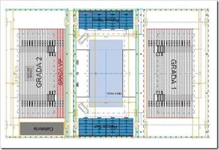 Plano pisa central adaptada en las instalaciones cubiertas tenis ciuda de la raqueta. Bwin ppt madrid 2012 gradas