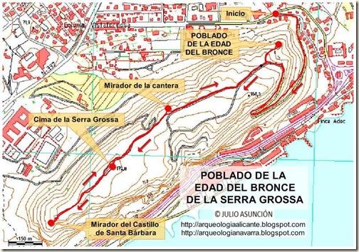 Mapa poblado de la Serra Grossa - Alicante