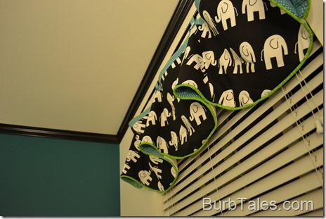 Nursery valance - black white teal