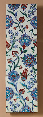 Three Tiles | Origin: Turkey, Iznik | Period:  last quarter 16th century | Collection: The Edwin Binney, 3rd, Collection of Turkish Art at the Los Angeles County Museum of Art (M.85.237.84a-c) | Type: Ceramic; Architectural element, Fritware, underglaze painted, Each tile: 4 x 4 in. (10.2 x 10.2 cm)