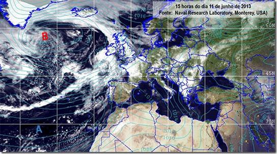 Satélite do passado dia 11 de junho pelas 15 horas
