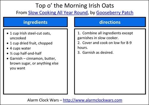 Irish oats recipe card