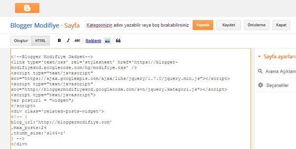 HTML'yi düzenle modu