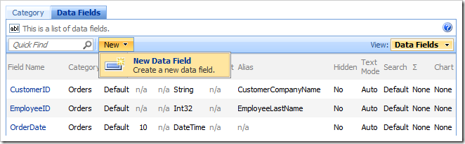 New Data Field action bar option in the Project Browser.