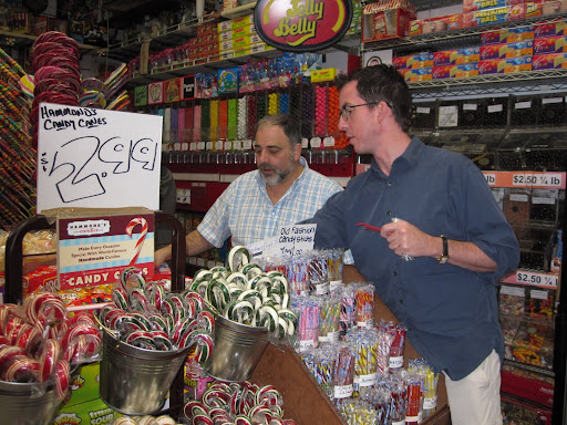 Here I am selecting candy with the owner of Economy Candy, Jerry Cohen.