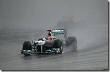 Schumacher con la Mercedes nel gran premio della Malesia 2012