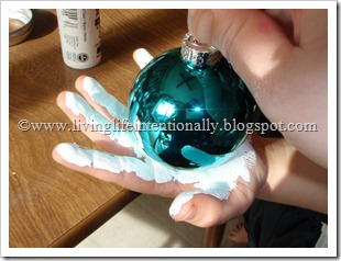Snowman Hand Art Ball Ornament