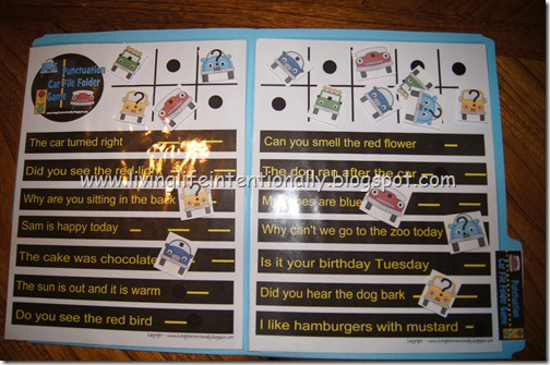 {free} 1st grade Punctuation Car File Folder Game