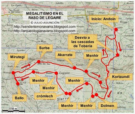Mapa ruta megalítica por el raso de Legaire