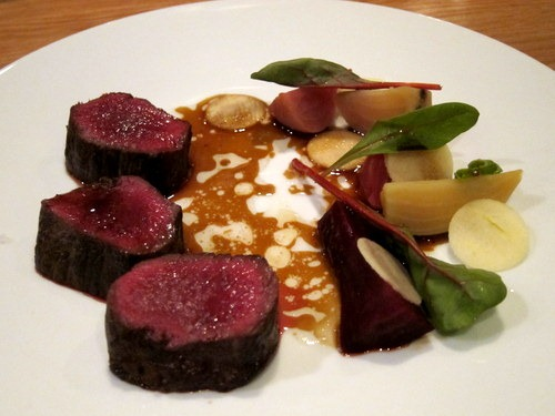 Roasted Sika deer, beetroots, apple, deer juice