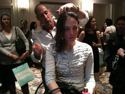 Rubin from Sally Hershberger styles brides' hair for their big day (or Saturday as in this case).