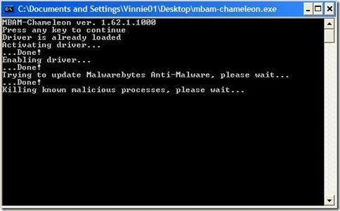 Malwarebytes Chameleon finestra DOS