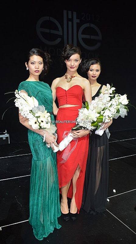 Elite Model Look 2012 Winners Finals Singapore Lena Stewen Jenevieve Woon 1st 2nd runner up Eugena Phang Male Winners Berik Kazymzhanov David Hong Male Winners Volkswagen Resort World Sentosa Hard Rock Hotel W ThaiAirways DJ Motiv8