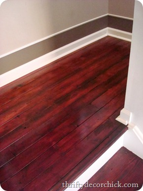 wood floor stair landing
