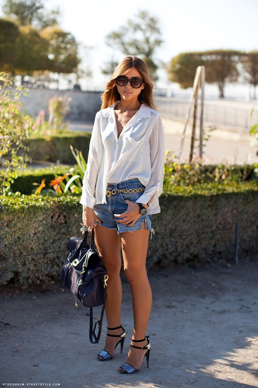 streetstyle denim shorts outfit