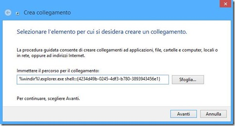 Windows 8 Crea collegamento