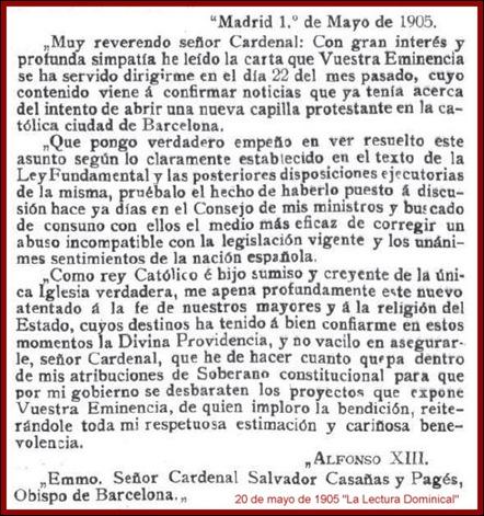 Carta Rey Anglicanos 1905