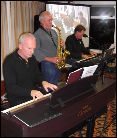 The MusicWorks trio, Darren Smith on the Yamaha Clavinova CVP-509, Miles Tremlett on Alto Sax, and Murray Hancox on the new Yamaha PSR-S950 keyboard.