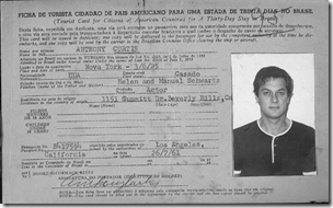 Tony Curtis's 1961 Brazilian immigration card