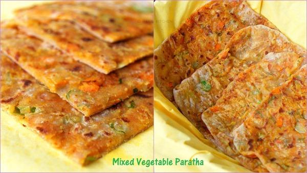 Mixed veg square paratha