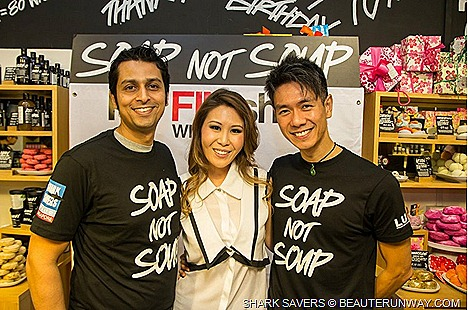 "LUSH SOAP NOT SOUP Shark Savers Singapore Ambassadors Hossan Leong,  Cheryl Wee,  Yasminne Cheng, Mr. Aaron Wong, Nominated Member of Parliament Mr. Nicholas Fang, saving sharks through awareness ""I'm FINished"" campaign education"