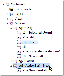 Action dropped in another action group in the Project Explorer.