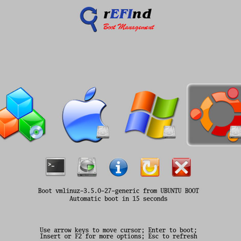 The rEFInd Boot Manager for computers based on the Extensible Firmware Interface (EFI) and Unified EFI (UEFI).