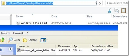 Immagine ISO di XP e Windows 8 create con WBI Creator