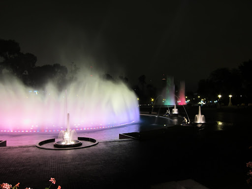 Some of the colorful water fountains lit up at night