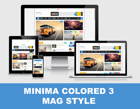 Minima Colored 3 Mag Style Blogger Template