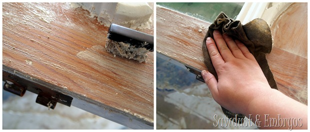 Use a wire brush and sandpaper to help with stripping the paint.