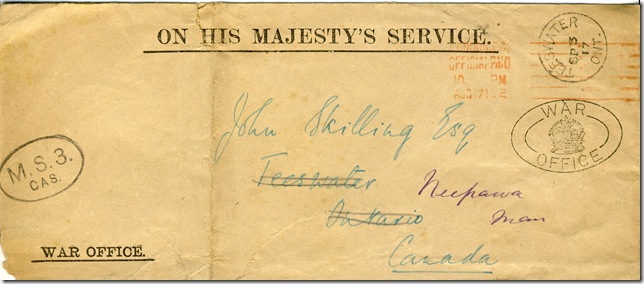 17 Aug 1917 Front of Envelope