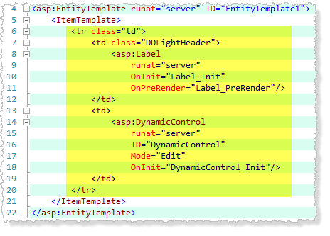 Edit Entity Template mark-up