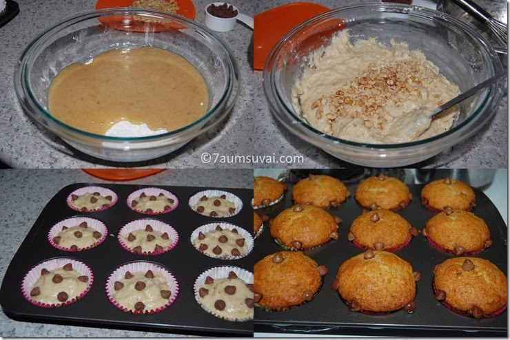 Banana chocolate chip muffin process 2