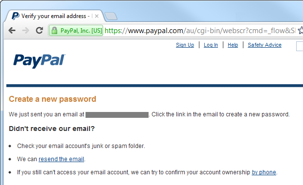 PayPal sending an email to begin the reset process