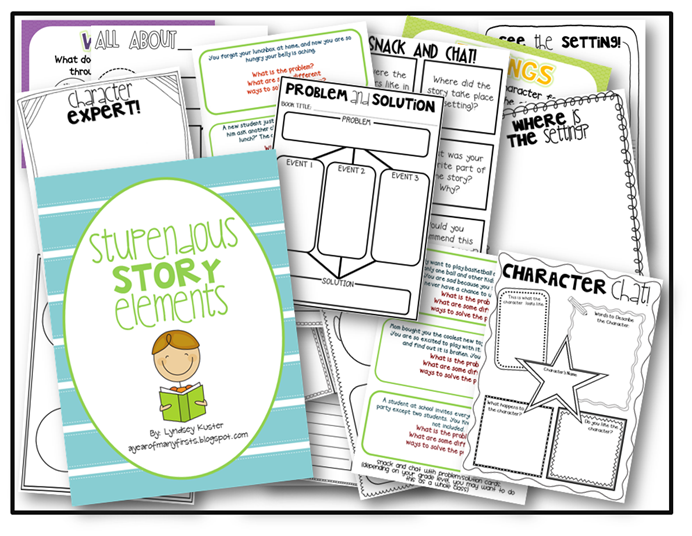 Stupendous Story Elements free packet A Year of Many Firsts – Story Elements Worksheets