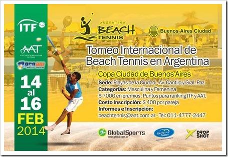 Torneo Beach Tennis Internacional en Argentina Copa Ciudad Buenos Aires del 14 al 16 de febrero de 2014.