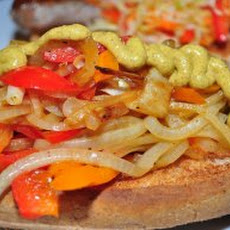 "Grilled Veggie ""Sausage"" With Peppers and Onions Recipe"