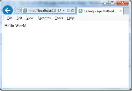 Calling a page method from jquery