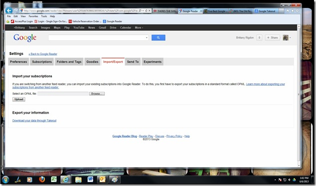 google reader import-export