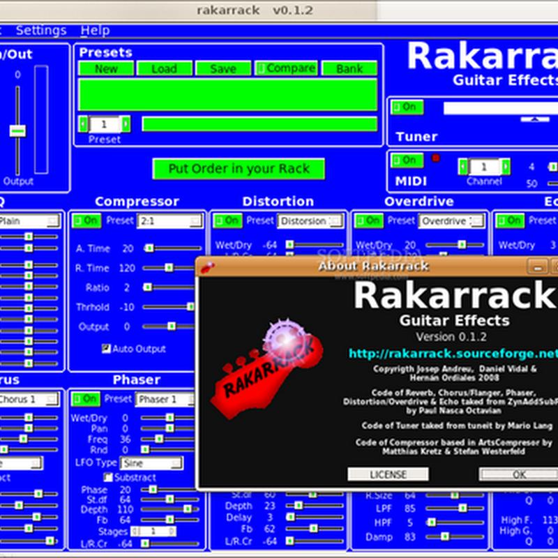 Rakarrack, finalmente un buon rack per chitarra su Linux.